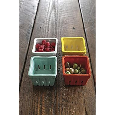 Creative Co-op Stoneware Berry Baskets, Multicolor, Set of 4