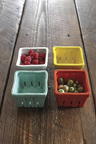Creative Co-op Stoneware Berry Baskets, Multicolor, Set of 4 ()