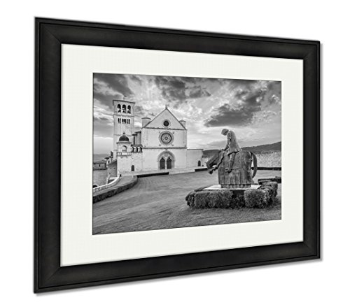 Ashley Framed Prints Basilica Of St Francis Of Assisi At Sunset Umbria Italy, Wall Art Home Decoration, Black/White, 26x30 (frame size), Black Frame, AG6532381 by Ashley Framed Prints
