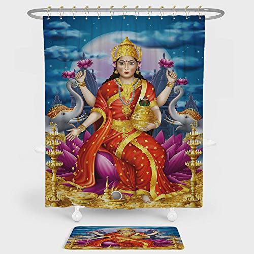 iPrint Ethnic Shower Curtain And Floor Mat Combination Set Holy Idol Figure of Wealth on Lotus Elephants Cloudy Night Sky Big Full Moon Festive For decoration and daily use Multicolor by iPrint