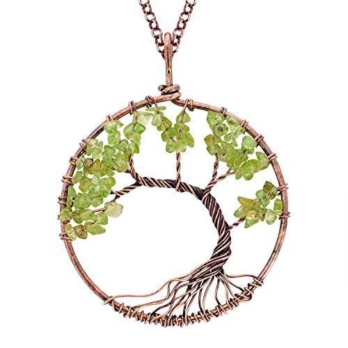 Fashion Tree of Life Pendant Necklace Handmade Peridot Gemstone Beads Chakra Statement Jewelry for Women Mothers Day Gift