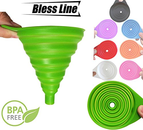 Silicone Funnel Foldable Funnel for Liquid Transfer 100% Food Top Grade Silicone (Green) (Green)