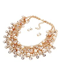 Yazilind Women's Gorgeous Gold Plated White Multilayer Sparkling Crystal Imitatetion Pearl Chunky Bubble Bib Choker Collar Necklace Earrings Set