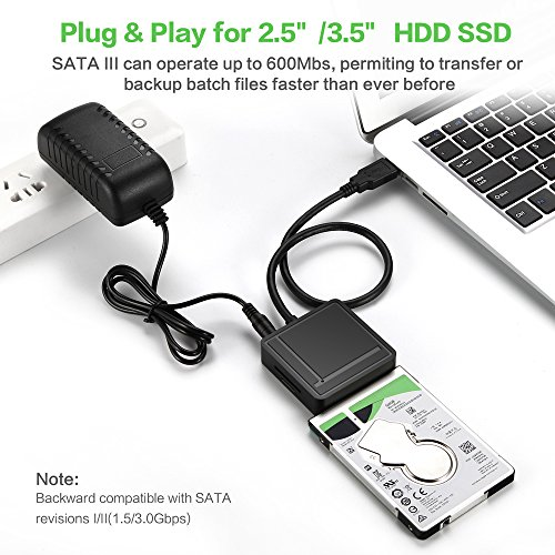 "USB 3.0 to SATA Adapter TF SD Card Reader USB 3.0 Hub 2 Ports Converter 3 in 1 for 2.5"" 3.5"" HDD Hard Drive, SSD Drives with Power Adapter Support UASP by EYOOLD (Image #3)"