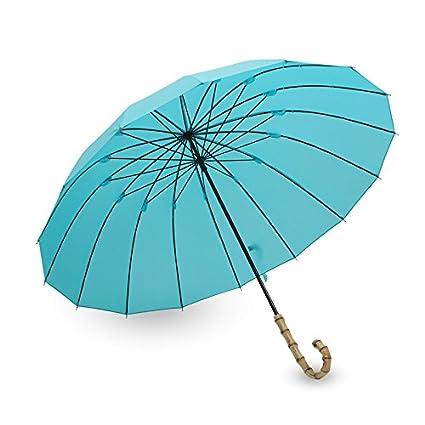 16 Hueso bambú Mango Mano paraguas paraguas lluvia paraguas ...
