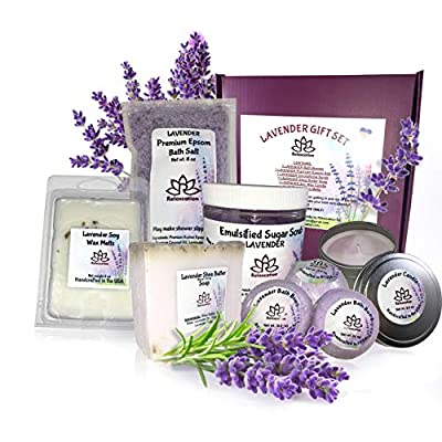 Lavender Gifts Set For Women - All Natural Spa Basket - Soy Candles - Organic Oil Bath Bombs - Hand Soap - Natural Body Sugar Scrub - Best Holidays Kit Idea for Mom Girls Her - Big Handmade Box