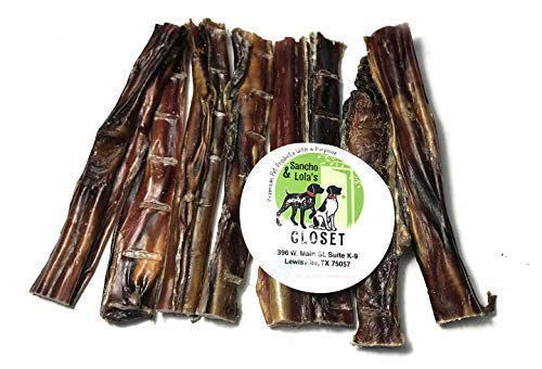 Sancho & Lola's Crunchy 6-Inch Steer Sticks for Dogs - 8oz (10-14) Made in Nebraska - Gentle Chew Beef Pizzle Bully Dog Chews for Sensitive Teeth]()