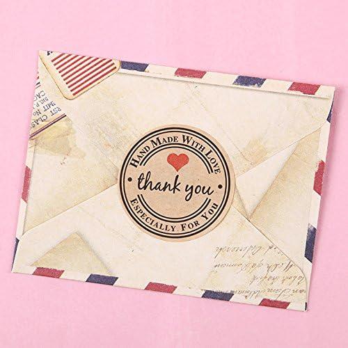 Dosige 120 PCS adesivi sigillanti grazie sigilli lettera etichetta regalo rotondi adesivi carta kraft borse per matrimoni scatole regalo abbellimenti artigianali