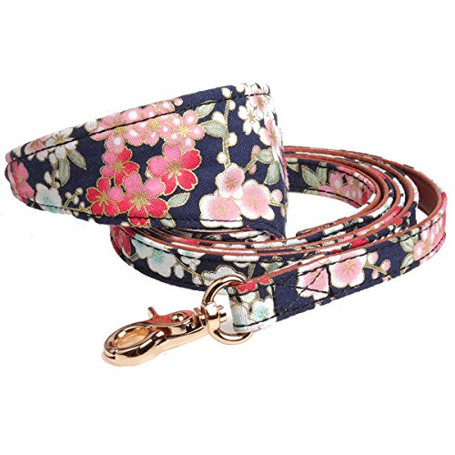 Fourhorse Small Dog and Cat Collars with Cute Flowers Bandana, Adjustable Buckle Soft and Comfortable (S, Blue Bandana+Leash)