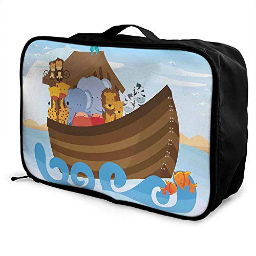Cartoon Luggage trolley bag Different Wild Animals on the Ark Boat Cheerful Story with Characters Fun Image Waterproof Fashion Lightweight Multicolor