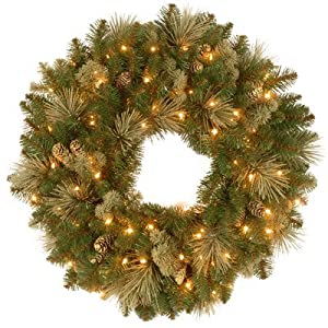 National Tree 30 Inch Pine Wreath with 100 Clear Lights (CAP3-306-30W-1) 91