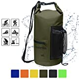 HASLE OUTFITTERS Waterproof Dry Bag-10L/20L/30L Roll Top Compression Sack with Shoulder Straps and Front Zippered Pocket Keeps Gear Dry for Boating, Camping, Kayaking, Fishing,Swimming and Hiking