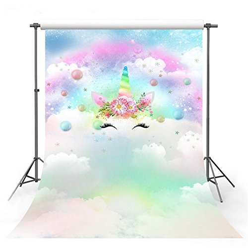 VV Flower Unicorn Gold Stars Backdrops for Baby Birthday Party 5x7ft Colorful Snowflake White Clouds Photography Background Kids Party Decoration Backdrop… -