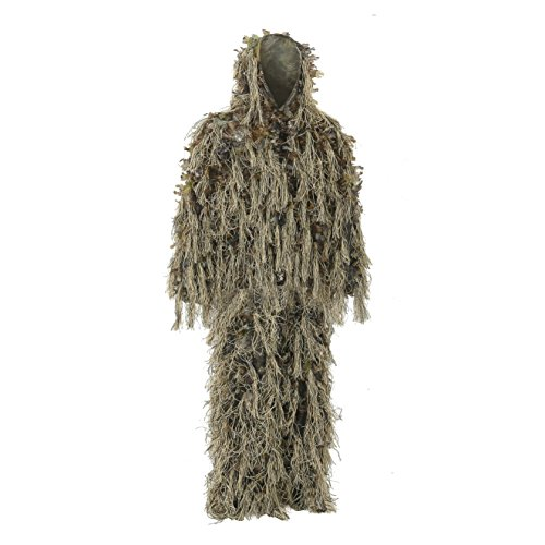 Auscamotek Hybrid Ghillie Suit for Hunting Camouflage Suit Dry Grass 3D Leaf Gilly Suits (M/L), Brown ()