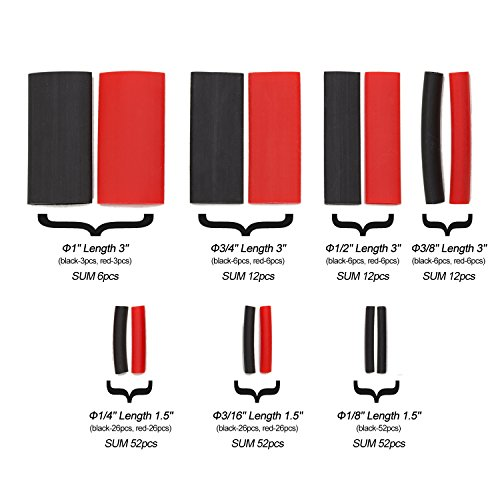 SwitchMe 198Pcs 3:1 Heat Shrink Tubing Double-wall Adhesive Lined Shrink Wrap Tubing Assortment Kit 7 Size 1'' 3/4'' 1/2'' 3/8'' 1/4'' 3/16'' 1/8'' Mix Black Red by SwitchMe (Image #3)