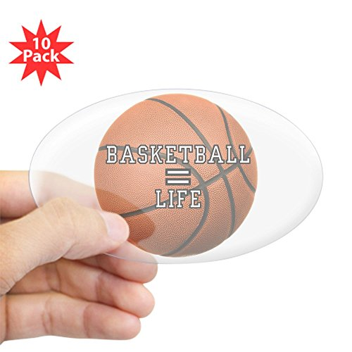 Sticker Clear (Oval) (10 Pack) Basketball Equals Life ()
