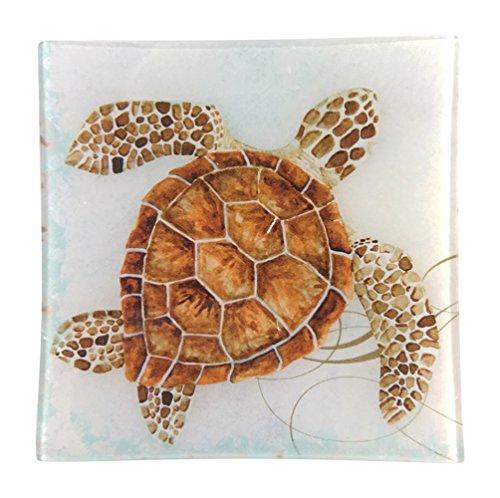 Nautical Sea Turtle Square Glass Tray, 5.75W X 5.75L Decorative Turtle