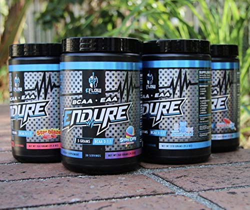 eFlow Nutrition Endure - BCAA Essential Amino ACIDS - Glutamine, Recovery, Intra Workout, Energy, Hydration – 6 Flavor Choices (Raging Rocket Pop)