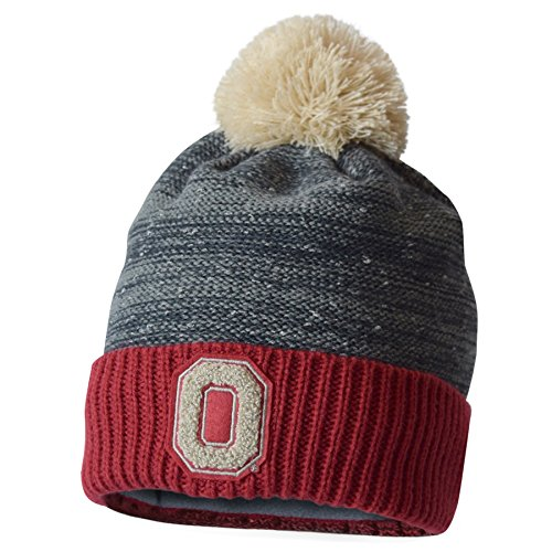 NCAA Ohio State Buckeyes Adult Nothing to Fear Cuff Knit Pom, One Size, Graphite/Vintage White (Buckeyes State Bill Flat Ohio Hat)