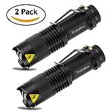 Yoloho Handheld Flashlight - 2 Pack, LED Flashlight with Belt Clip, 3 Modes