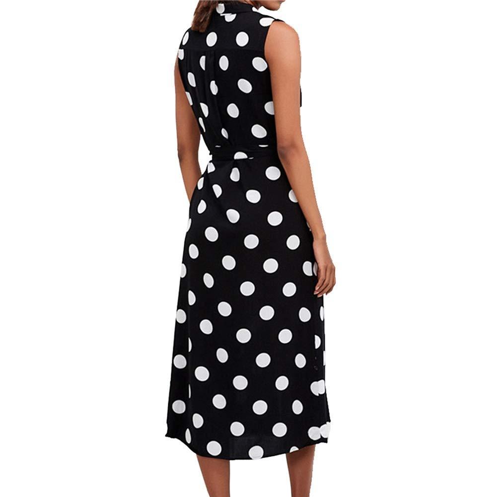 Filfeel Frauen Chiffon Kleid Punkte /Ärmellos Einreiher V-Ausschnitt Wadenlang