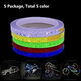 5 Package (5 Color) Safety Reflective Tape Warning Lighting Sticker Adhesive Reflector Tape Roll Strip for Beautify Bicycle Bike Decoration Motocycle Car