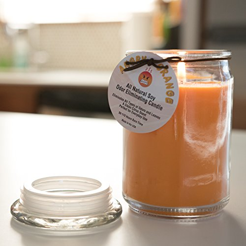 Large Product Image of Angry Orange Odor Eliminating Soy Candle from Eliminates Odors Leaving a Clean Citrus Scent for Smokers and Pet Owners - All Natural Soy Odor Eliminator Candle is Made in USA - 18oz