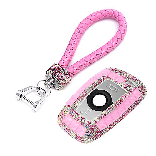 (PGONE Luxury Bling Crystal Diamond Key Fob Case Cover Keychain for BMW 3/4 Buttons Keyless Entry Remote Control Smart Key Protective Shell Bag 1 3 4 5 6 7 Series X3 X4 M5 M6 GT3 GT5 (Pink))