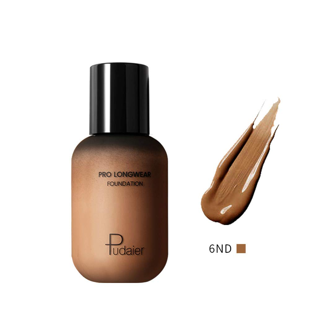 Women Liquid Foundation True Match Highlight Contour All-Day Hydrating Oil Control Makeup (Multicolor, 6ND)