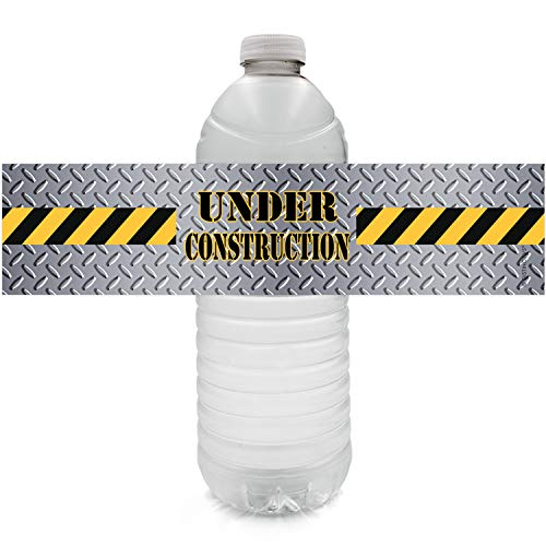 Construction Birthday Party Water Bottle Labels | 24 Stickers -