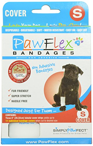 PawFlex Bandages 3 Protector/Cover Strips; yields up to 11 covers for Pets, Small, (Tubular Strip)