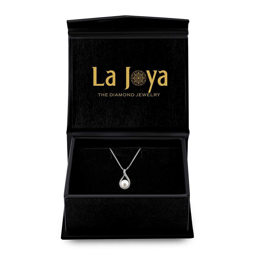 La Joya 925 Sterling Silver 1//14ct Round White Diamond 8.00mm Freshwater Cultured Pearl Tear Drop Diamond Pendant for Teens
