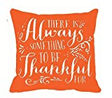 "Thanksgiving Gifts Always Something To Be Thankful On Red Background Throw Pillow Case Cushion Cover Decorative Cotton Blend Linen Pillowcase for Sofa 18 ""X 18 "" ¡­"