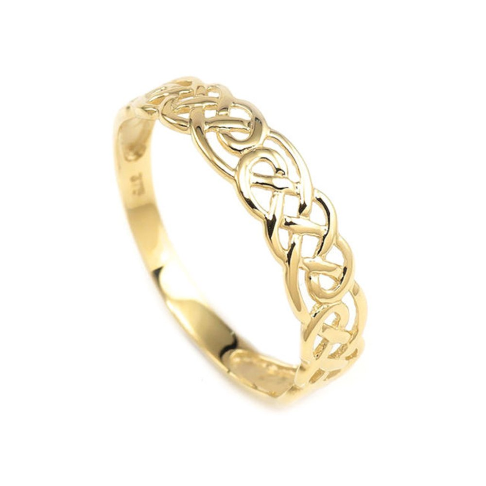 4mm 9ct Real Gold Hand Made Celtic Eternity Wedding Band Ring Engagement Wedding Ring for Women Full Size Gifts MOJ