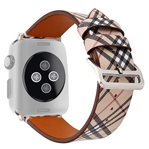 Coholl 38/40mm Tartan Plaid Style Replacement Strap Wrist Band with Metal Adapter Compatible for Apple Watch Series5 4 3 2 1 Soft PU Leather Pastoral/Rural Style 42/44mm (E, 38/40mm)