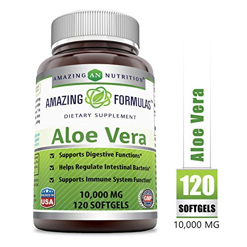 Amazing Formulas Aloe Vera 10000 mg 120 Softgels (Non-GMO) - Supports Digestive Functions - Helps Regulate Intestinal Bacteria - Supports Immune System Function