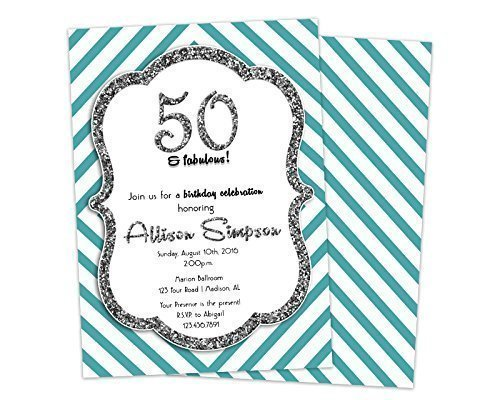 Aqua Blue Silver Glitter Adult Birthday Invitations Woman 50th 60th 70th
