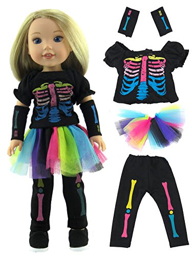 Electric Neon Skeleton Costume-Fits 14 Inch Wellie Wisher Dolls | 14 Inch Doll Clothing -