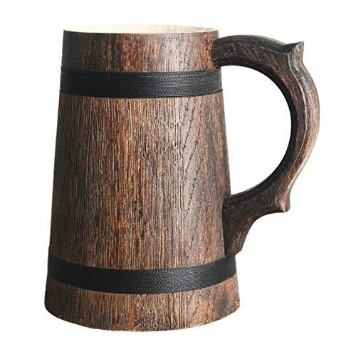 Handmade Wooden Beer Mug of Wood Eco Friendly Great Gift Ideas Wood beer mug Brown 24 Oz (0.7 L)