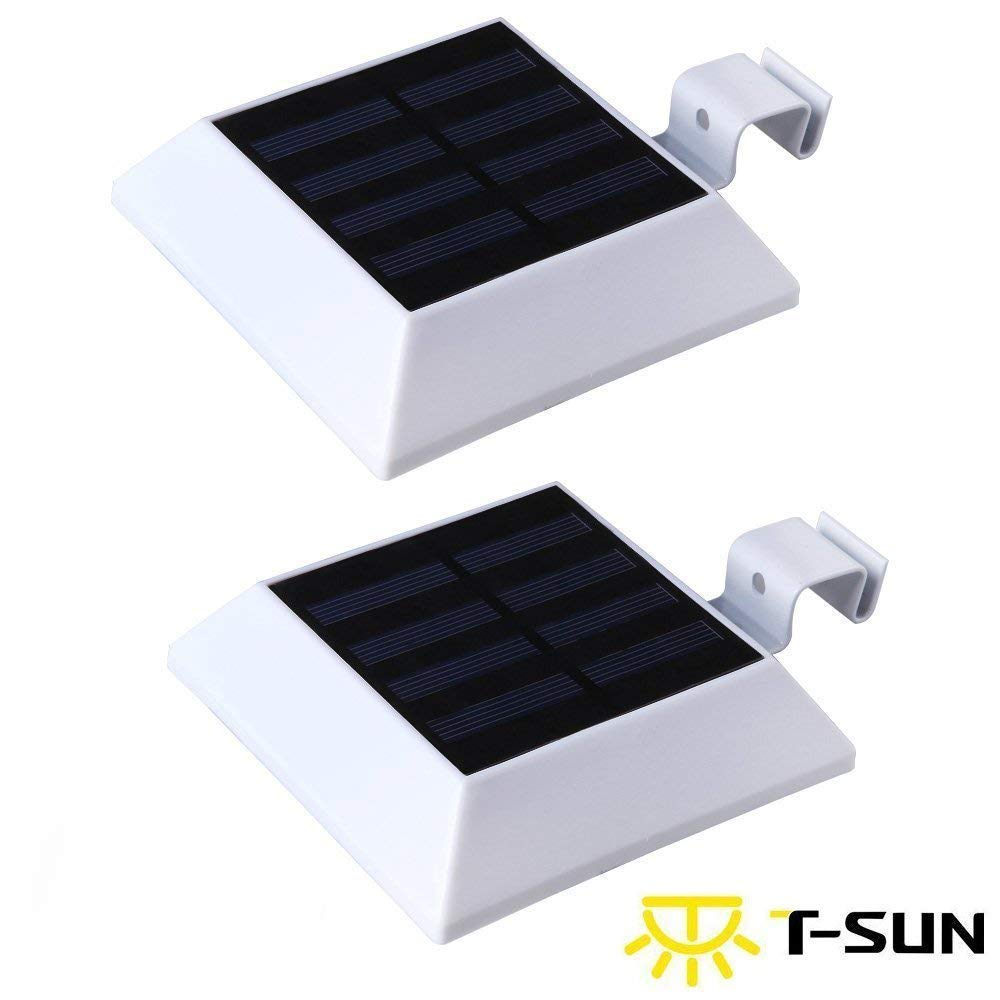[2 Pack] T-Sun Solar Gutter Lights Motion Sensor Wall Light, 6 LED Solar Mtoion Security Night Light for Outdoor Garden, Fence, Patio, Garage(3000K Warm White) by T-SUN