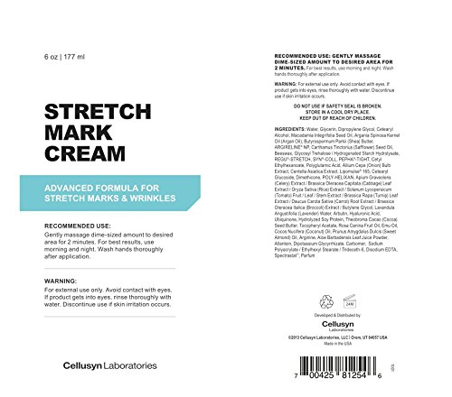 Stretch Mark Cream 6oz - Reduce & Prevent Old & New Stretch Marks & Scars - For Women And Men - Guaranteed Results - Clinically Proven Ingredients - by Cellusyn