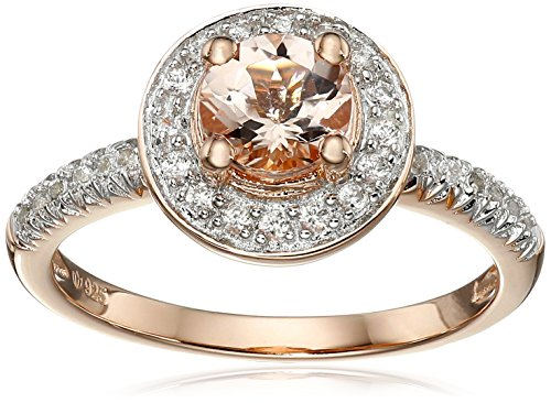 Rose Gold-Plated Silver Morganite and Natural White Zircon Halo Ring, Size 7 51QqZ4twt3L