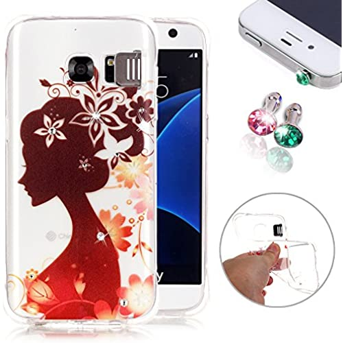 Galaxy S7 Case, Pershoo New Fashion Flash Function Soft TPU Clear Bling Gold Crown Crystal Diamond Skin Case Sales