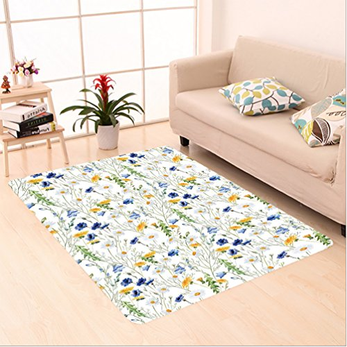 Nalahome Custom carpet oppies and Daisies Floral Printing Wild Flowers Watercolor Painting Yellow White Navy Blue Green area rugs for Living Dining Room Bedroom Hallway Office Carpet (5' X 8') (Wildflowers Rug)
