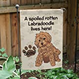 Cheap GiftsForYouNow Personalized Labradoodle Spoiled Here Double Sided Garden Flag, Polyester