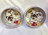 Cat 8'' and 6'' Pet Bowls for Food and Water. Personalized at no Charge. Signed by Artist, Debby Carman.