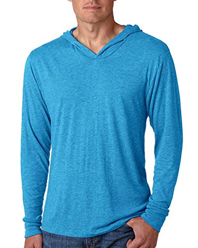 Yoga Clothing For You Mens Triblend Lightweight Hoodie Tee, Vintage Turquoise, Medium