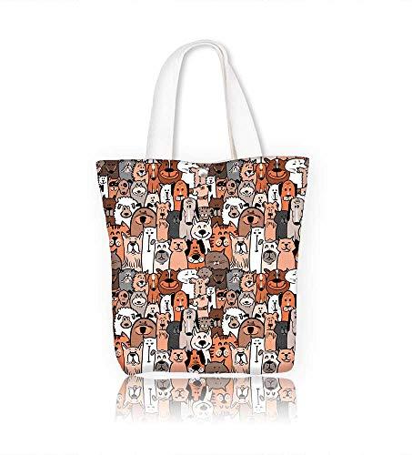 Tory Burch Beach Bag - Reusable Cotton Canvas Zipper bag doodle dogs and cats seamless Tote Laptop Beach Handbags W17.7xH14xD7 INCH