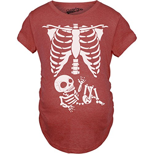 Maternity Skeleton Baby T Shirt Halloween Costume Funny Pregnancy Tee for Mothers (Red) - XL -