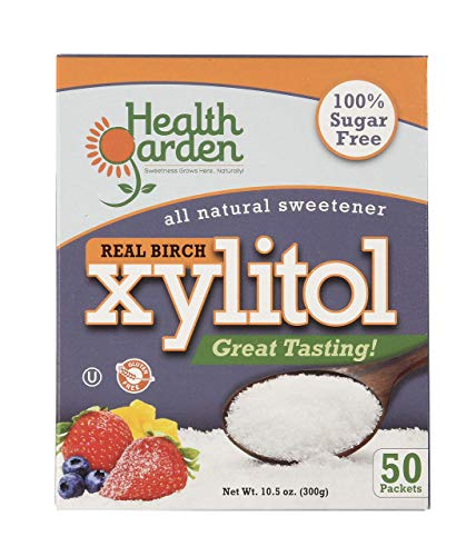 - Health Garden Xylitol Sugar Free Sweetener, All Natural Non GMO Kosher Sugar Substitute, 50 Packets